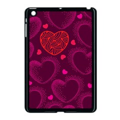 Love Heart Polka Dots Pink Apple iPad Mini Case (Black)