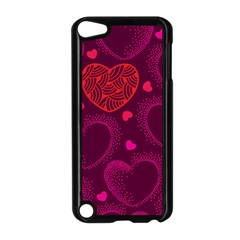 Love Heart Polka Dots Pink Apple iPod Touch 5 Case (Black)
