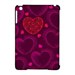 Love Heart Polka Dots Pink Apple iPad Mini Hardshell Case (Compatible with Smart Cover)