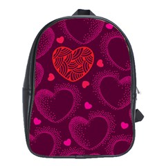 Love Heart Polka Dots Pink School Bags (XL)