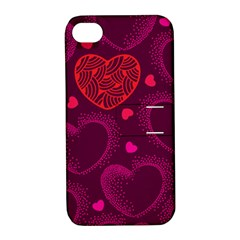 Love Heart Polka Dots Pink Apple iPhone 4/4S Hardshell Case with Stand