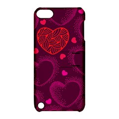 Love Heart Polka Dots Pink Apple iPod Touch 5 Hardshell Case with Stand