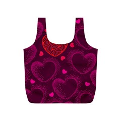 Love Heart Polka Dots Pink Full Print Recycle Bags (S)