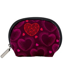 Love Heart Polka Dots Pink Accessory Pouches (Small)