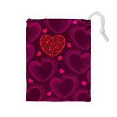 Love Heart Polka Dots Pink Drawstring Pouches (Large)