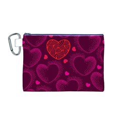 Love Heart Polka Dots Pink Canvas Cosmetic Bag (M)
