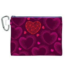 Love Heart Polka Dots Pink Canvas Cosmetic Bag (XL)