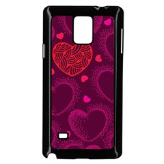 Love Heart Polka Dots Pink Samsung Galaxy Note 4 Case (Black)