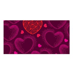 Love Heart Polka Dots Pink Satin Shawl