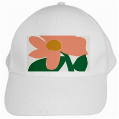Peach Sunflower Flower Pink Green White Cap