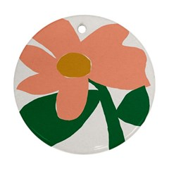 Peach Sunflower Flower Pink Green Ornament (Round)