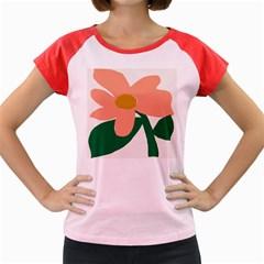 Peach Sunflower Flower Pink Green Women s Cap Sleeve T-Shirt