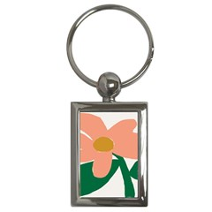 Peach Sunflower Flower Pink Green Key Chains (Rectangle)