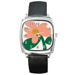 Peach Sunflower Flower Pink Green Square Metal Watch