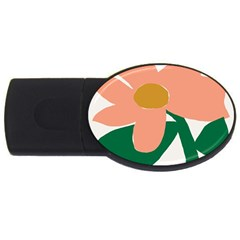 Peach Sunflower Flower Pink Green USB Flash Drive Oval (4 GB)