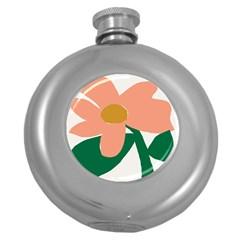 Peach Sunflower Flower Pink Green Round Hip Flask (5 oz)