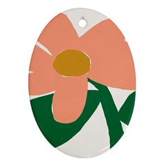 Peach Sunflower Flower Pink Green Oval Ornament (Two Sides)