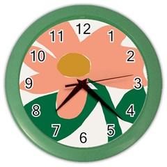 Peach Sunflower Flower Pink Green Color Wall Clocks