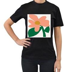 Peach Sunflower Flower Pink Green Women s T-Shirt (Black)