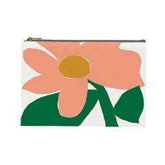 Peach Sunflower Flower Pink Green Cosmetic Bag (Large)
