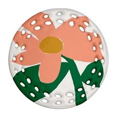 Peach Sunflower Flower Pink Green Ornament (Round Filigree)