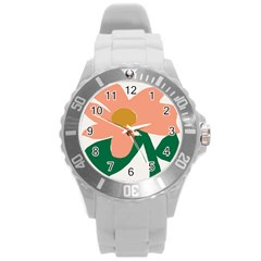 Peach Sunflower Flower Pink Green Round Plastic Sport Watch (L)
