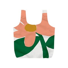 Peach Sunflower Flower Pink Green Full Print Recycle Bags (s)