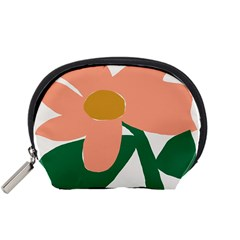 Peach Sunflower Flower Pink Green Accessory Pouches (Small)