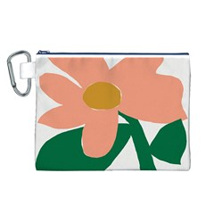 Peach Sunflower Flower Pink Green Canvas Cosmetic Bag (L)