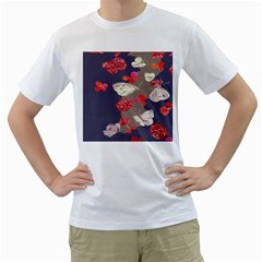 Original Butterfly Carnation Men s T Shirt (white) (two Sided)