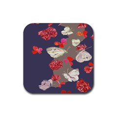 Original Butterfly Carnation Rubber Coaster (Square)