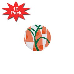 Portraits Plants Carrot Polka Dots Orange Green 1  Mini Buttons (10 pack)