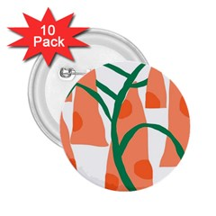 Portraits Plants Carrot Polka Dots Orange Green 2.25  Buttons (10 pack)