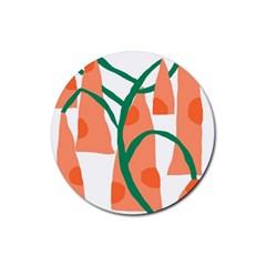 Portraits Plants Carrot Polka Dots Orange Green Rubber Round Coaster (4 pack)