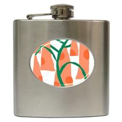 Portraits Plants Carrot Polka Dots Orange Green Hip Flask (6 oz)