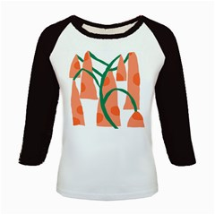 Portraits Plants Carrot Polka Dots Orange Green Kids Baseball Jerseys