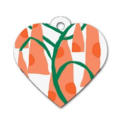 Portraits Plants Carrot Polka Dots Orange Green Dog Tag Heart (two Sides)