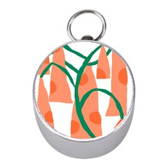 Portraits Plants Carrot Polka Dots Orange Green Mini Silver Compasses