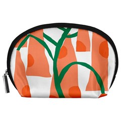 Portraits Plants Carrot Polka Dots Orange Green Accessory Pouches (Large)
