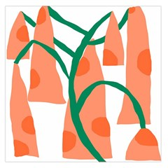 Portraits Plants Carrot Polka Dots Orange Green Large Satin Scarf (Square)
