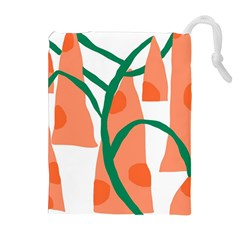 Portraits Plants Carrot Polka Dots Orange Green Drawstring Pouches (extra Large)