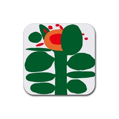 Portraits Plants Sunflower Green Orange Flower Rubber Coaster (Square)