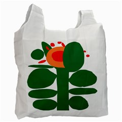 Portraits Plants Sunflower Green Orange Flower Recycle Bag (Two Side)