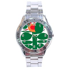 Portraits Plants Sunflower Green Orange Flower Stainless Steel Analogue Watch