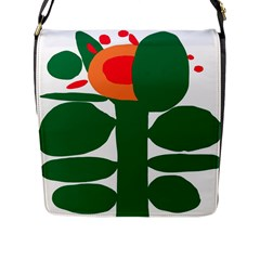 Portraits Plants Sunflower Green Orange Flower Flap Messenger Bag (l)
