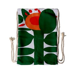 Portraits Plants Sunflower Green Orange Flower Drawstring Bag (small)