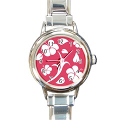 Pink Hawaiian Flower White Round Italian Charm Watch