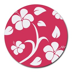 Pink Hawaiian Flower White Round Mousepads