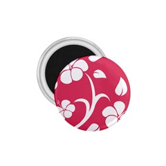 Pink Hawaiian Flower White 1.75  Magnets