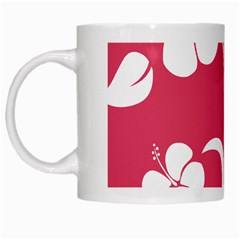 Pink Hawaiian Flower White White Mugs